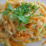 Kartoffelmöhren-Spaghetti in Käsesahne-Sauce