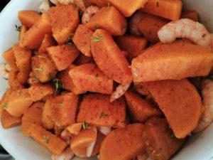 Süßkartoffeln mit Garnelen